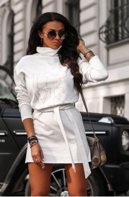 Sukienka bluza magic O La Voga biały,krótka sukienka,sukienka z golfem