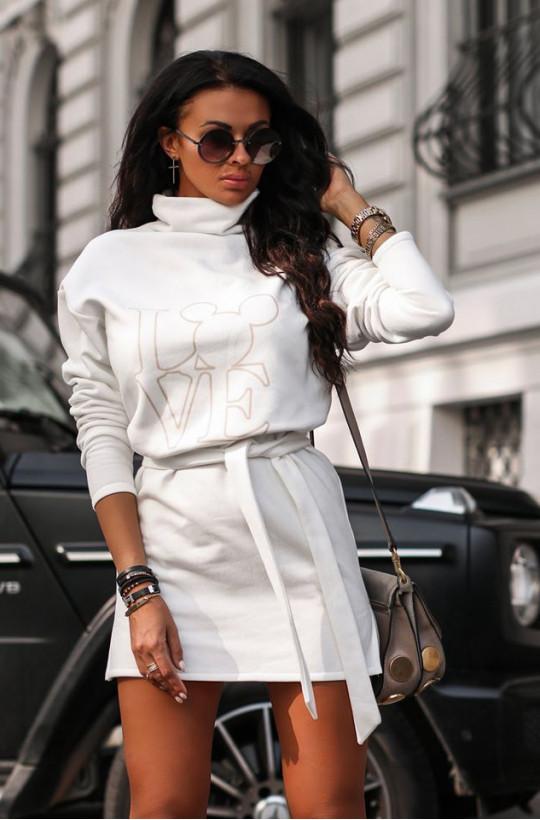 Sukienka bluza magic O La Voga biały,krótka sukienka,sukienka z golfem,bluzowa sukienka,hit2020