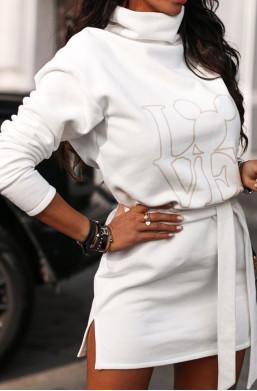 Sukienka bluza magic O La Voga biały, bluza do grubych rajstop,krótka sukienka,sukienka z golfem
