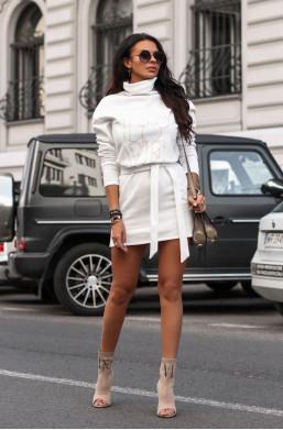 Sukienka bluza magic O La Voga biały,krótka sukienka,sukienka z golfem,najniższe ceny