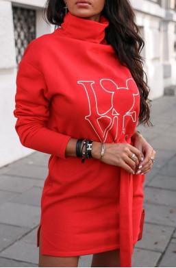 Sukienka bluza magic O La Voga czerwony,sukienka z długim rękawem,sukienka z nadrukiem,sukienka z golfem