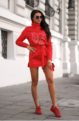 Sukienka bluza magic O La Voga czerwony, bluza do grubych rajstop