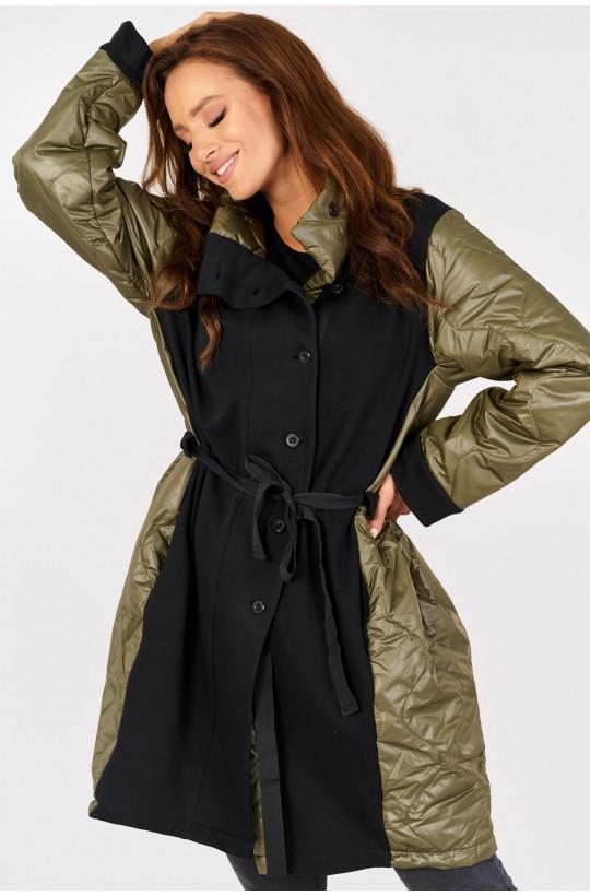 Kurtka płaszcz wiosenny new collection made in Italy khaki,długa kurtka,płaszcz,płaszcz na zimę,jesień,niskie ceny
