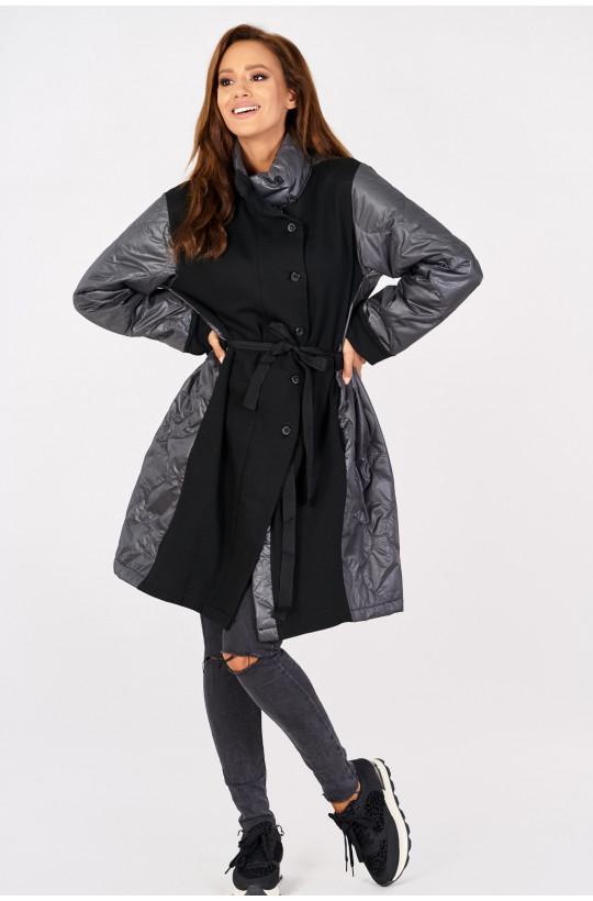 Kurtka płaszcz wiosenny new collection made in Italy czarny,długi płaszcz,płaszcz na zimę,płaszcz na wiosnę,płaszcz wiązany
