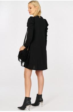 Sukienka z bufkami i siateczką new collection made in Italy czarny,krótka sukienka,sukienka na długi rękaw
