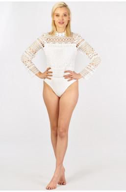 Body półgolf z gipurą Miss moda Italy czarny i biały new collection ciechanów