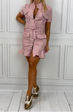 Sukienka ecosóra z falbaną różowa Marelina,krótka sukienka,sukienka z kieszeniami,sukienka na krótki rękaw