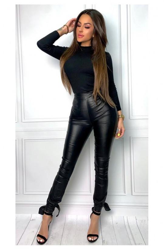 Hitowe czarne spodnie ze strechem ecoskóra Marelina,eleganckie spodnie,wygodne spodnie,spodnie z paskiem