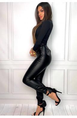 wyszczuplające spodnie,Hitowe czarne spodnie ze strechem ecoskóra Marelina,obcisłe spodnie,spodnie z wysokim stanem