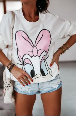 Bluza Daisy oversize O La Voga biały,bluza na długi rękaw,ciepła bluza,modna bluza,bluza z Daisy