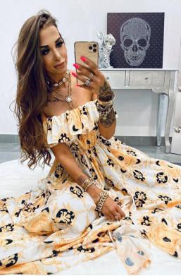 Sukienka MAXI Versace white Lola Bianka, sukienka hiszpanka z długim rozporkiem,długa sukienka
