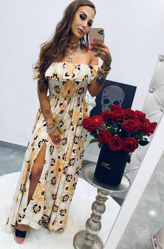 Sukienka MAXI Versace white Lola Bianka,długa sukienka,sukienka hiszpanka,sukienka z długim rozporkiem