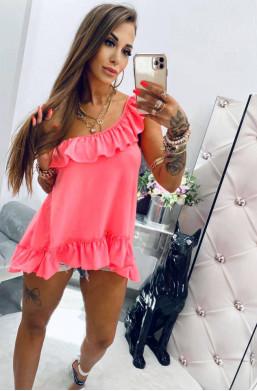 Bluzka bawełniana falbanka neon róż Lola Bianka,modna bluzka,elegancka bluzka,detal,najniższe ceny,markowa bluzka