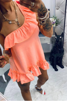 bawełniana falbanka neon koral Lola Bianka,modna bluzka,elegancka bluzka,bluzka z falbanami