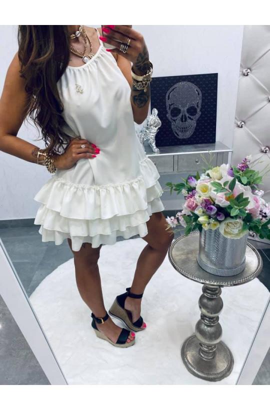 sukienka na ramiączkach,sukienka z falbaną,sukienka na lato,zwiewna sukienka Lola Bianka