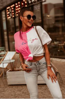 T-shirt OLV O'LA VOGA,dwukolorowa bluzka,krótka bluzka,bluzka z wiązaniem,modna bluzka,świetna bluzka