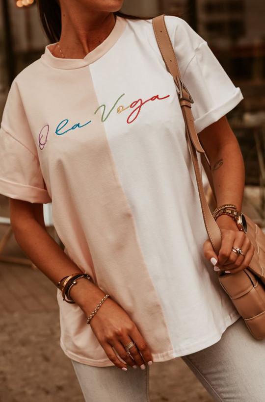 T-shirt OLV O'LA VOGA, do spodenek bluzka na lato,zwiewna bluzka,dwukolorowa bluzka,modna bluzka,do spodenek