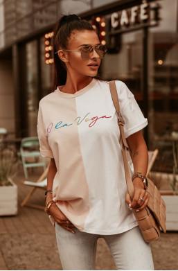 T-shirt OLV O'LA VOGA, do spodenek bluzka na lato,zwiewna bluzka,dwukolorowa bluzka,modna bluzka