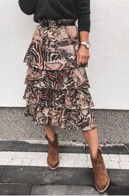 spódnica panterkowa midi,długa spódnica,spódnica z wzorem,ciechanów