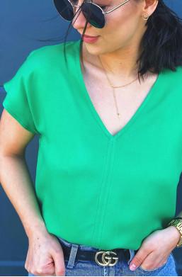 bluzka klasyczna zielona,bluzka na lato,zielona bluzka,bluzka na krótki rękaw