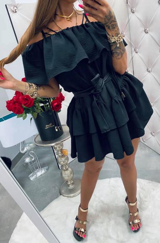 Sukienka tunika czarna Hiszpanka,sukienka z falbaną,sukienka na lato,krótka sukienka