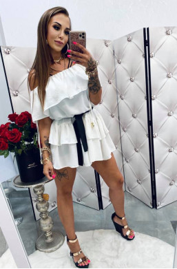 Sukienka tunika biała Hiszpanka,sukienka z falbaną,sukienka na lato,krótka sukienka