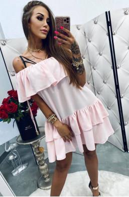 Sukienka tunika pudrowy róż Hiszpanka,sukienka z falbaną,sukienka na lato,krótka sukienka