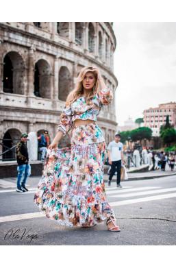 """Sukienka Komplet  ,,VENEZIA"""" O La Voga,długa sukienka,kolorowa sukienka,sukienka z długim rękawem"""