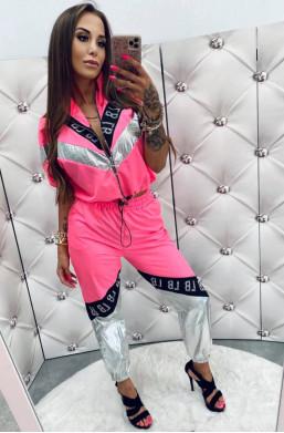 Dres komplet  Lola Bianka neon pink,oryginalny komplet,komplet ze stójką,modny komplet,zasuwana góra,hit2020