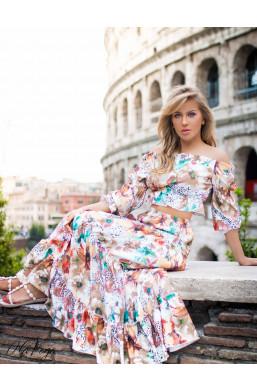 """Sukienka Komplet  ,,VENEZIA"""" O La Voga, detal,sukienka z wzorami"""