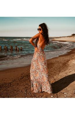 długa sukienka na plażę,sukienka z odkrytymi plecami,zwiewna sukienka