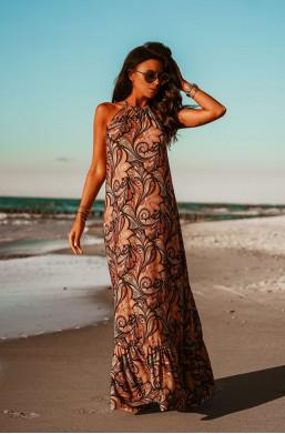 """Sukienka długa ,,MAXI BEACH PRINT""""O La Voga,długa sukienka,długa sukienka na plażę,sukienka bez rękawów"""