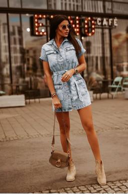 Sukienka płaszcz denim blue jeans O La Voga