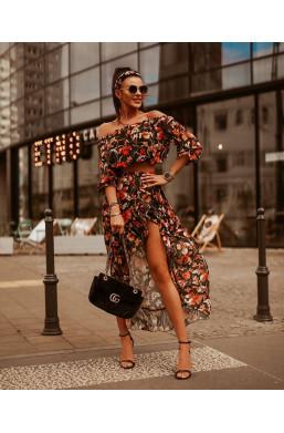 """Sukienka asymetryczna komplet  ,,MAXI flowers""""O La Voga"""