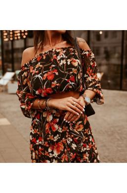 """hiszpanka w kwiaty,Sukienka asymetryczna komplet  ,,MAXI flowers""""O La Voga,długa sukienka,elegancka sukienka"""