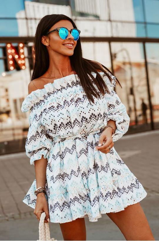 Sukienka hiszpanka by love O La Voga, sukienka z rękawkiem,biała sukienka,sukienka z wzorem
