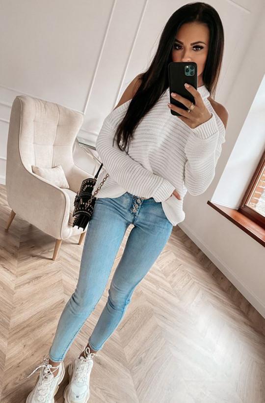 Sweter stella O La Voga biały,ciepły sweter,sweter na chłodniejsze dni,luźny sweter