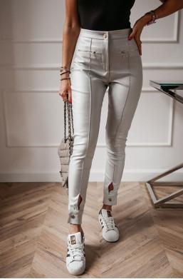 Spodnie woskowane carla O La Voga szare,długie modne spodnie