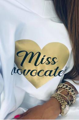 """Bluza bawełniana z nadrukiem """"Miss"""" biała Lola Bianka,długa bluza,bluza z nadrukiem,bluza oversize"""