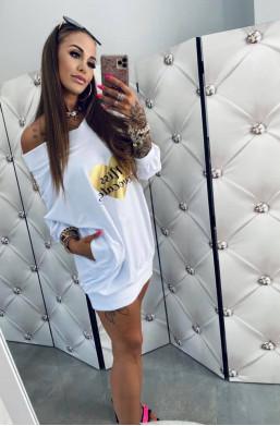 """Bluza bawełniana z nadrukiem """"Miss"""" biała Lola Bianka,długa bluza,bluza z nadrukiem,bluza oversize,bluza do spodenek"""