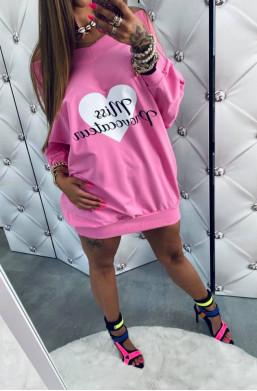 """Bluza bawełniana z nadrukiem """"Miss"""" różowa Lola Bianka,długa bluza,różowa bluza,bluza z logo,oversize"""
