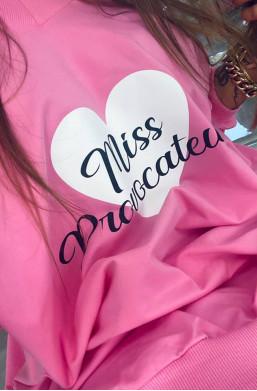 """Bluza bawełniana z nadrukiem """"Miss"""" różowa Lola Bianka,długa bluza,różowa bluza,bluza z logo"""
