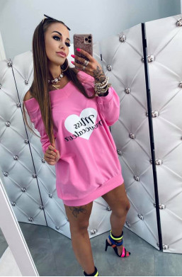 """Bluza bawełniana z nadrukiem """"Miss"""" różowa Lola Bianka, bluza luźna duża"""