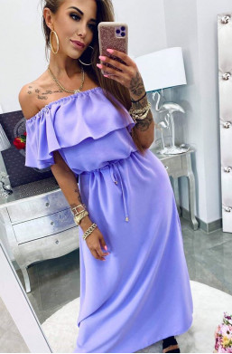 "Sukienka Hiszpanka ""basic"" wrzos Lola Bianka,długa sukienka,fioletowa sukienka,elegancka sukienka"