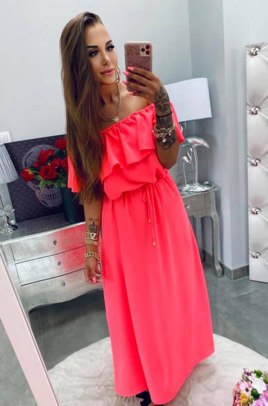 "Sukienka maxi Hiszpanka ""basic"" koralowa Lola Bianka,sukienka z falbaną,różowa sukienka,długa sukienka"