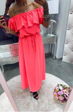 sukienka maxi neon koral,sukienka z falbaną,różowa sukienka,długa sukienka