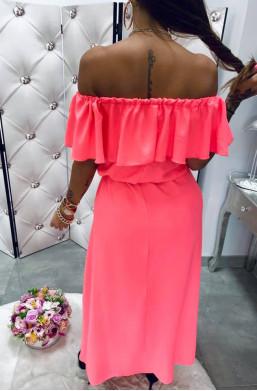 sukienka z falbaną,różowa sukienka,długa sukienka,sukienka hiszpanka