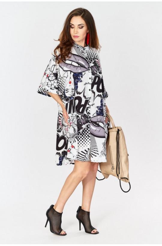 Sukienka gazeta, wzory made in Italy Creation,krótka sukienka,luźna sukienka,sukienka z wzorem