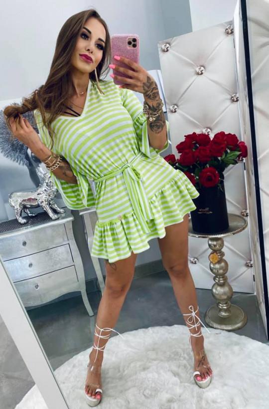 Sukienka tunika pasiak Lola Bianka,sukienka  w paski,sukienka z paskiem,zielona sukienka