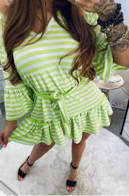 sukienka z falbaną,sukienka  w paski,sukienka z paskiem,zielona sukienka